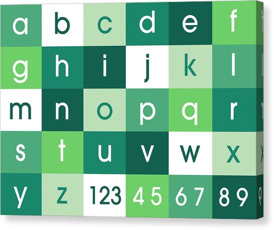 Learning Canvas Print - Alphabet Green by Michael Tompsett