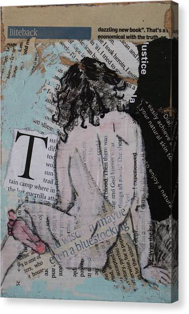 Alphabet Nude T Canvas Print by Joanne Claxton