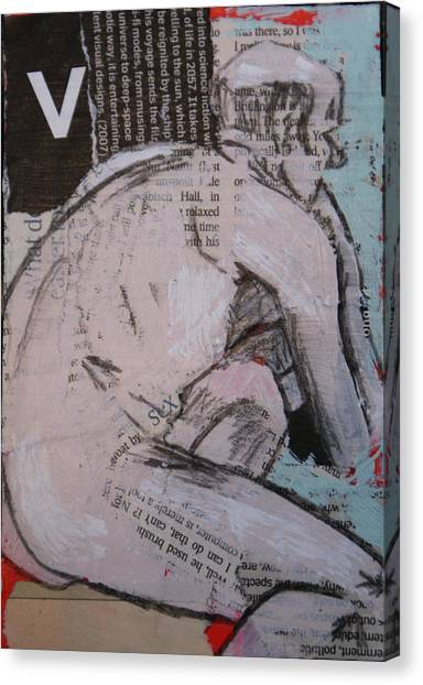 Alphabet Nude V Canvas Print by Joanne Claxton
