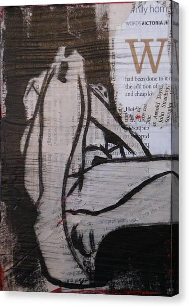 Alphabet Nude W Canvas Print by Joanne Claxton