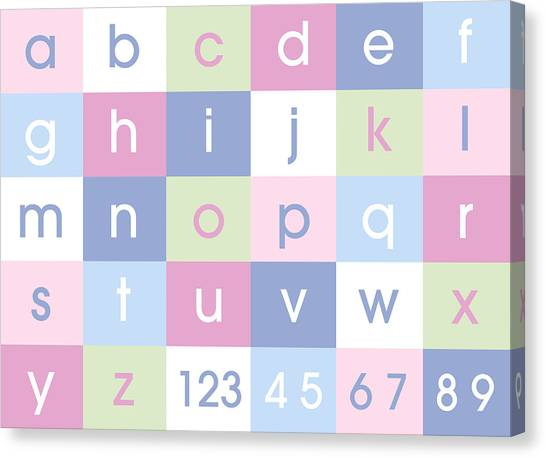 Childrens Room Canvas Print - Alphabet Pastel by Michael Tompsett