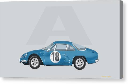 Canvas Print featuring the mixed media Alpine A110 by TortureLord Art