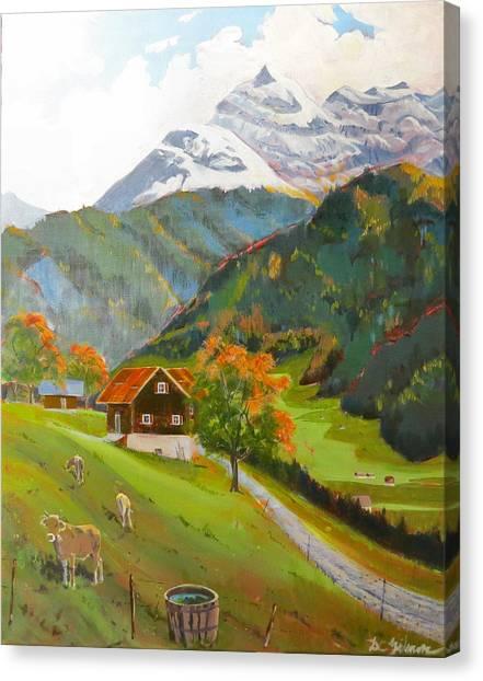 Alpine Farm Near Buerglen In Canton Uri Canvas Print