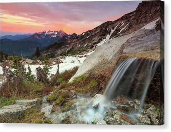 American Fork Canyon Canvas Print - Alpine Waterfall In The Southern Wasatch. by Johnny Adolphson