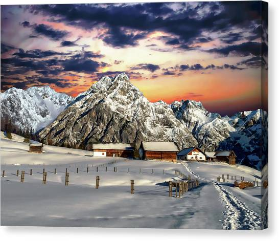 Alpine Winter Scene Canvas Print