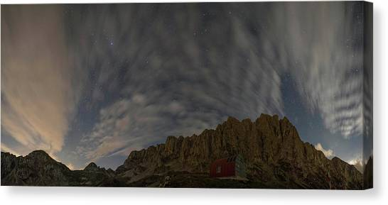 Starry Night Canvas Print - Alps With The Nightsky by Nicola Aristolao