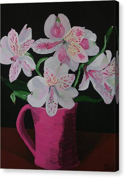 Alstroemeria In Mug Canvas Print