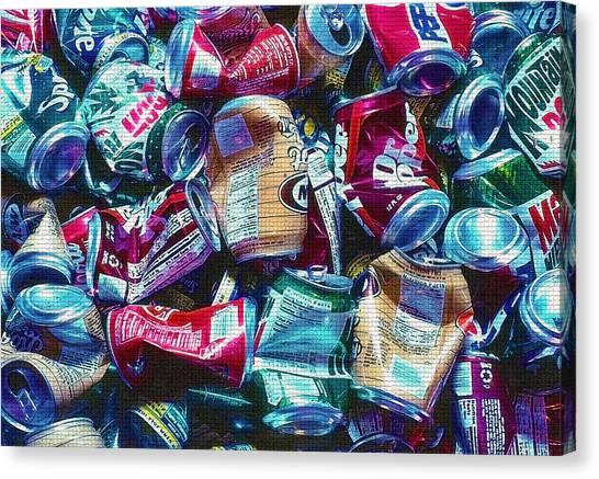 Aluminum Cans - Recyclables Canvas Print by Steve Ohlsen