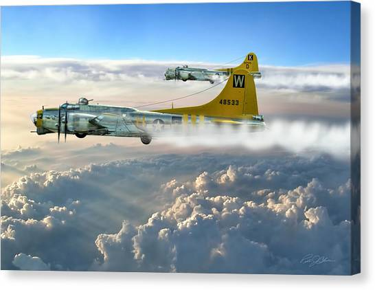 United States Army Air Corps Canvas Print - Aluminum Overcast Skies by Peter Chilelli