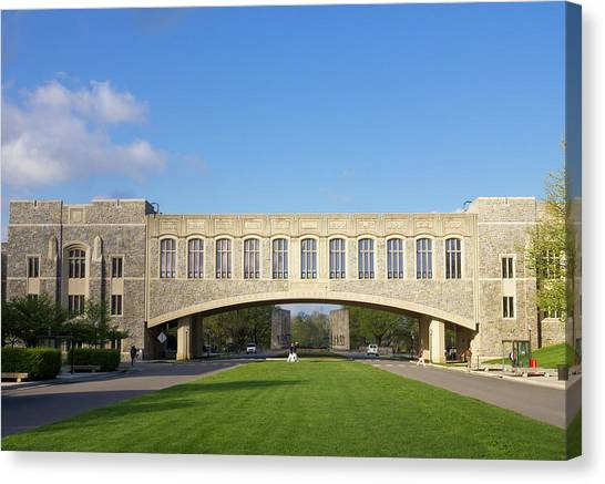 Virginia Polytechnic Institute And State University Virginia Tech Canvas Print - Alumni Mall At Virginia Tech University by Bryan Pollard