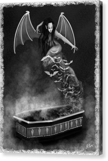 Always Awake - Black And White Fantasy Art Canvas Print