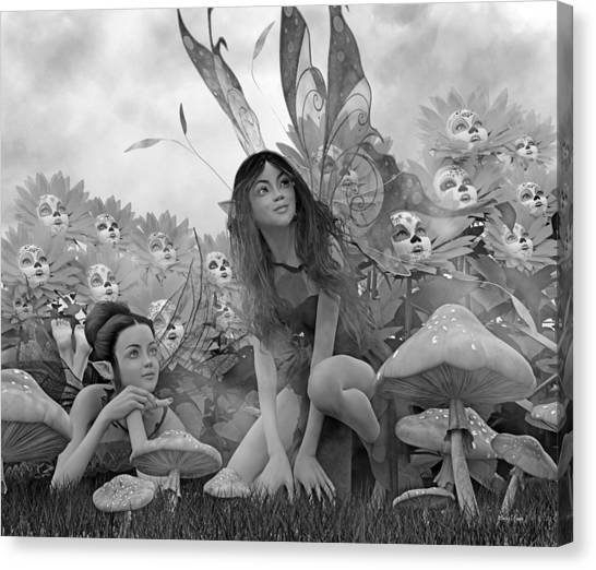 Karma Canvas Print - Always Watching Over You Bw by Betsy Knapp