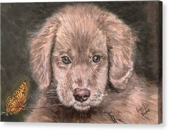 Irish Setter Puppy Dog And Orange Butterfly Canvas Print by Remy Francis