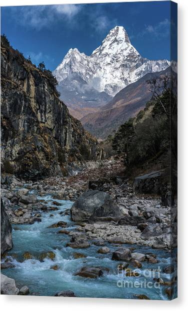 K2 Canvas Print - Ama Dablam In Nepal by Mike Reid