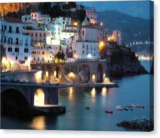 Amalfi Coast At Night Canvas Print