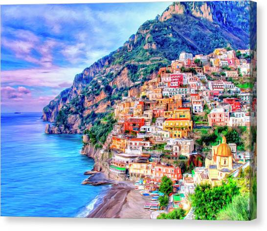 Coast Canvas Print - Amalfi Coast At Positano by Dominic Piperata