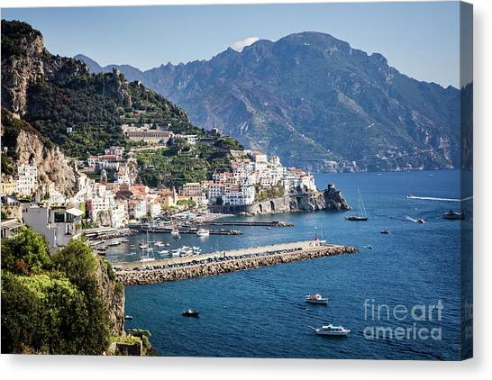 Canvas Print featuring the photograph Amalfi Harbor by Scott Kemper