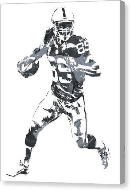 Oakland Raiders Canvas Print - Amari Cooper Oakland Raiders Pixel Art 10 by Joe Hamilton