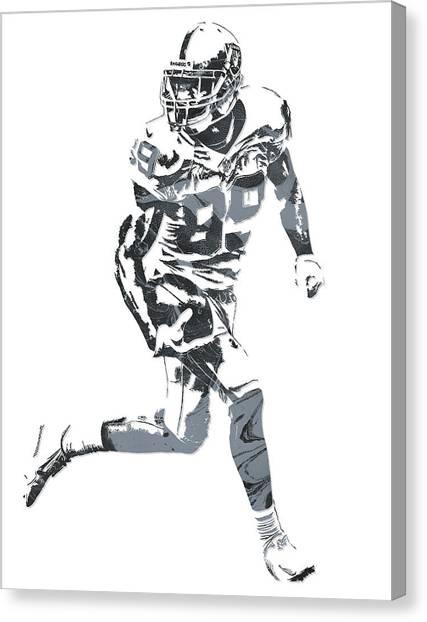 Oakland Raiders Canvas Print - Amari Cooper Oakland Raiders Pixel Art 11 by Joe Hamilton