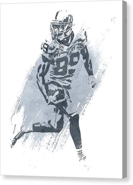 Oakland Raiders Canvas Print - Amari Cooper Oakland Raiders Water Color Art 1 by Joe Hamilton