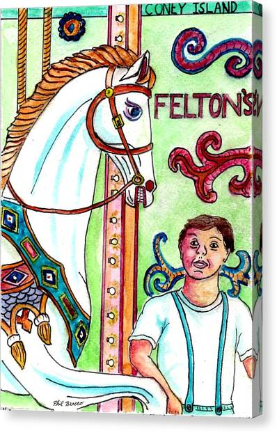 Amazed At The Merry-go-round At Feltons In Coney Island Canvas Print