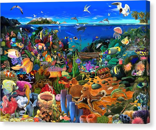 Tropical Fish Canvas Print - Amazing Coral Reef by Gerald Newton