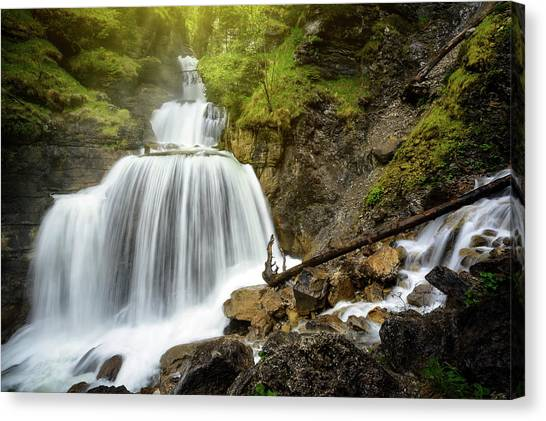 Amazing Mountain Waterfall Near Farchant Village At Garmisch Partenkirchen, Farchant, Bavaria, Germany. Canvas Print