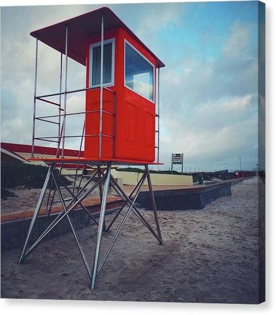 South African Canvas Print - Red Lifesaving Lookout Platform by Jacci Freimond Rudling