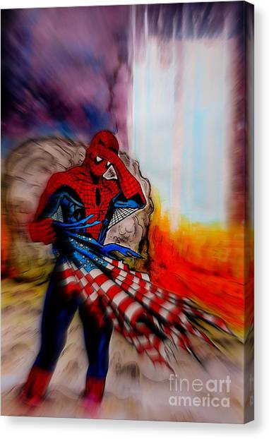 Us Civil War Canvas Print - Amazing Spider-man 9/11 Tribute by Justin Moore