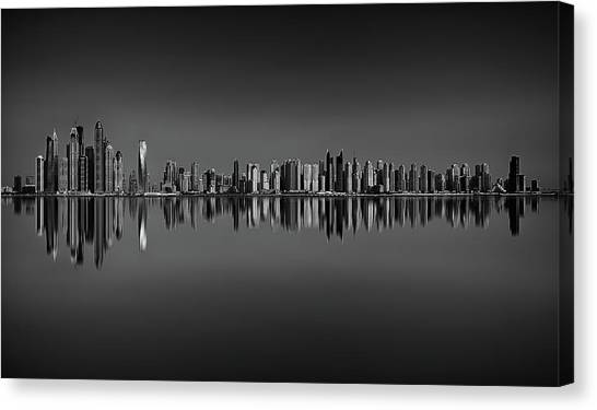 Dubai marina canvas print amazing sunset panorama reflection of dubai marina dubai united