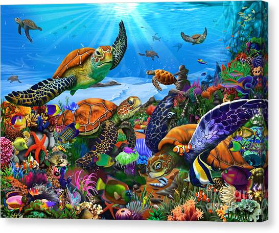 Clown Fishes Canvas Print - Amazing Undersea Turtles by Gerald Newton