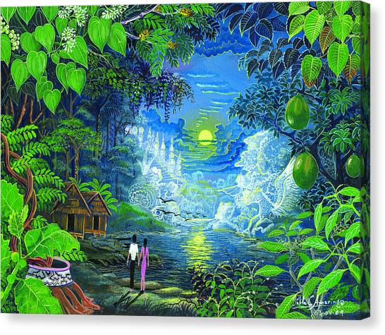 Canvas Print featuring the painting Amazonica Romantica by Pablo Amaringo