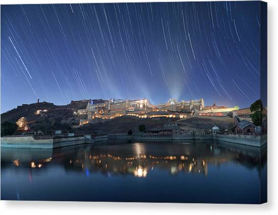 Canvas Print featuring the photograph Amber Fort After Sunset by Pradeep Raja Prints