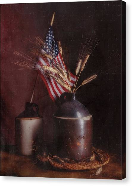 Stars And Stripes Canvas Print - Amber Waves Of Grain by Tom Mc Nemar