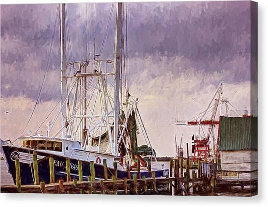 Canvas Print featuring the digital art Amelia Island Wharf by Barry Jones