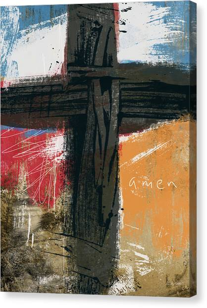 Biblical Canvas Print - Amen Contemporary Cross- Art By Linda Woods by Linda Woods