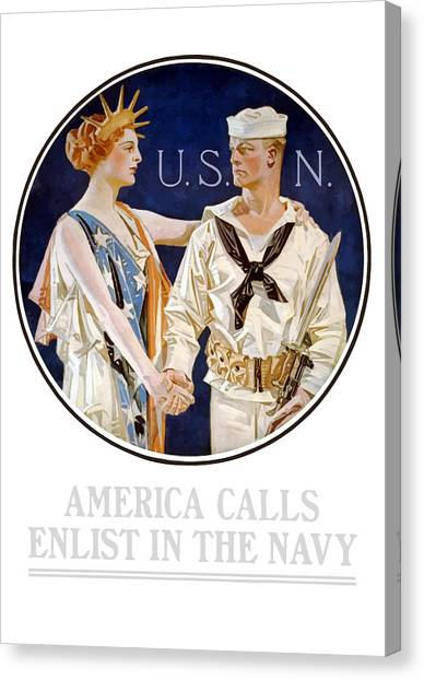 Navy Canvas Print - America Calls Enlist In The Navy by War Is Hell Store