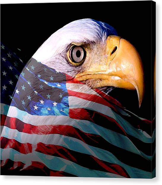 American Flag Canvas Print - America The Beautiful by Tray Mead