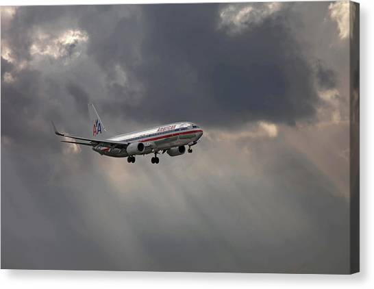 American Aircraft Landing After The Rain. Miami. Fl. Usa Canvas Print