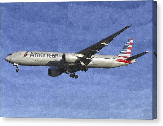 American Airlines Boeing 777 Aircraft Art Canvas Print