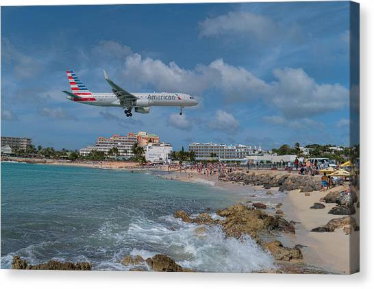 American Airlines Landing At St. Maarten Airport Canvas Print