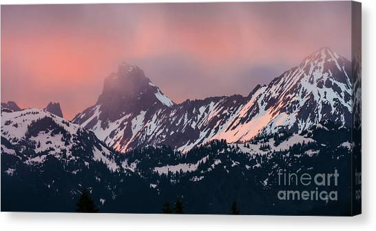 Table Mountain Canvas Print - American Border Peak And Mount Larrabee At Sunset by Mike Reid