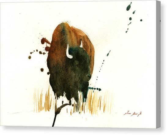 Buffaloes Canvas Print - American Buffalo Painting by Juan  Bosco