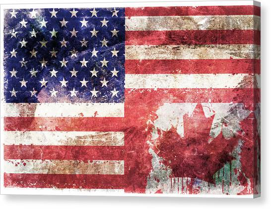 Independence Day Canvas Print - American Canadian Tattered Flag by Az Jackson