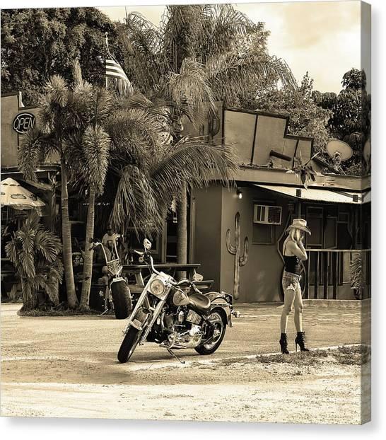 Dirt Bikes Canvas Print - American Classic Sepia by Laura Fasulo