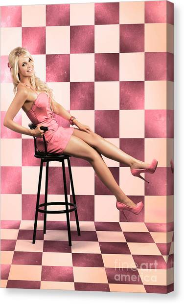 Chequered Canvas Print - American Culture Pin Up Girl Inside 60s Retro Diner by Jorgo Photography - Wall Art Gallery