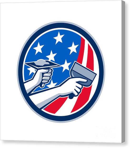 Drywall Canvas Print - American Drywall Repair Service Flag Circle Retro by Aloysius Patrimonio