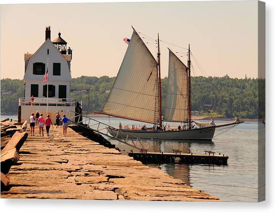American Eagle At The Lighthouse Canvas Print