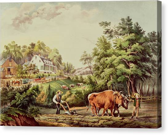 Currier And Ives Canvas Print - American Farm Scenes by Currier and Ives