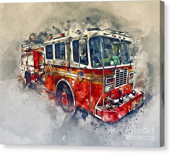 Volunteer Firefighter Canvas Print - American Fire Truck by Ian Mitchell